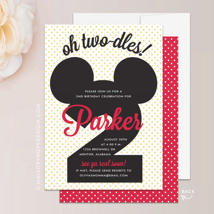 Mickey Mouse Birthday Invitation - Mickey Mouse Invitation, Mickey Party Invite, Two-dles Invitation, Mickey Mouse Invite, Disney Birthday by MalloryHopeDesign on Etsy https://www.etsy.com/listing/558170450/mickey-mouse-birthday-invitation-mickey