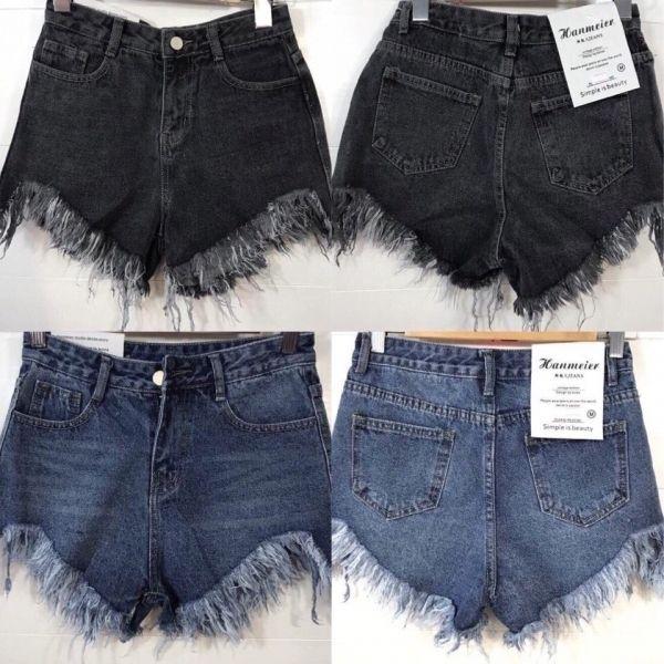 Стильные короткие женские джинсовые шорты черные