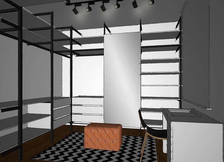 Outro ângulo do closet do @apto.143! No centro quero ter um puff de couro estonado caramelo, pra contrastar com o preto e branco do restante do ambiente! E o meu tapete chevron, é óbvio... #Apto143 #apartamento #diariodereforma #reforma #reformando #instahouse #decorar #instadecor #construção #interiores #inspiracao #decorando #dicasdedecor #blogdedecoracao #blogueiradecoracao #detalhes #details #decor #homestyle #homedesign #decoration #interiordesign #decoracao #home #homedecor…