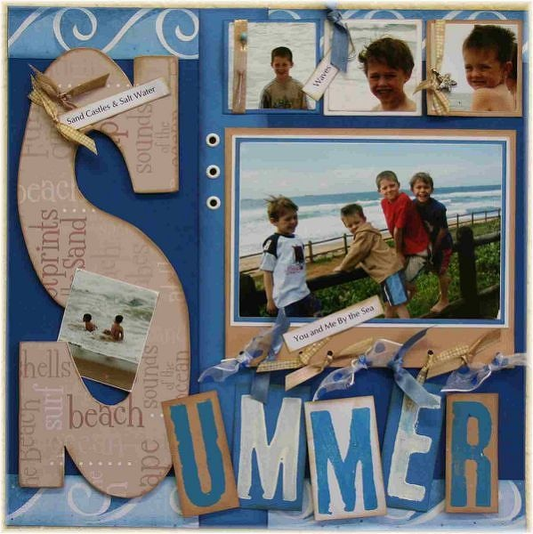 SUMMER - Two Peas in a Bucket. 5 photos with great embellishments and positioning