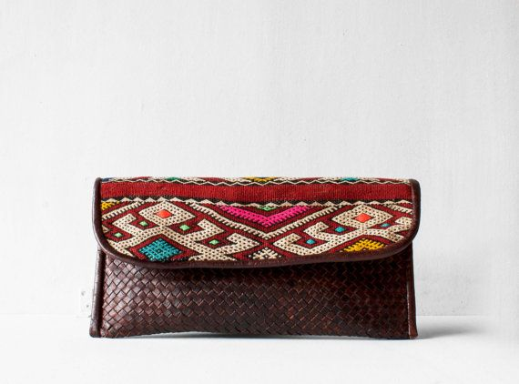 Boho Woven Leather Clutch / Leather Clutch / Brown by morelle
