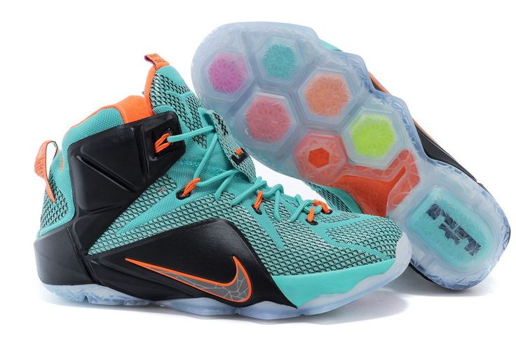 Cheap Nike LeBron XII EP Jade-green Black Orange Moonlight Shoes on sale
