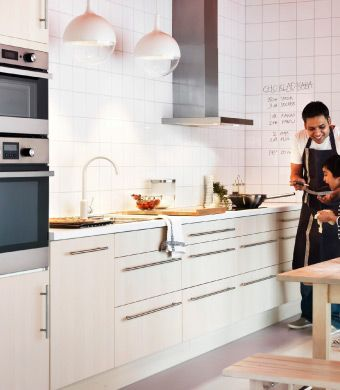 A child-friendly kitchen with lots of base cabinets
