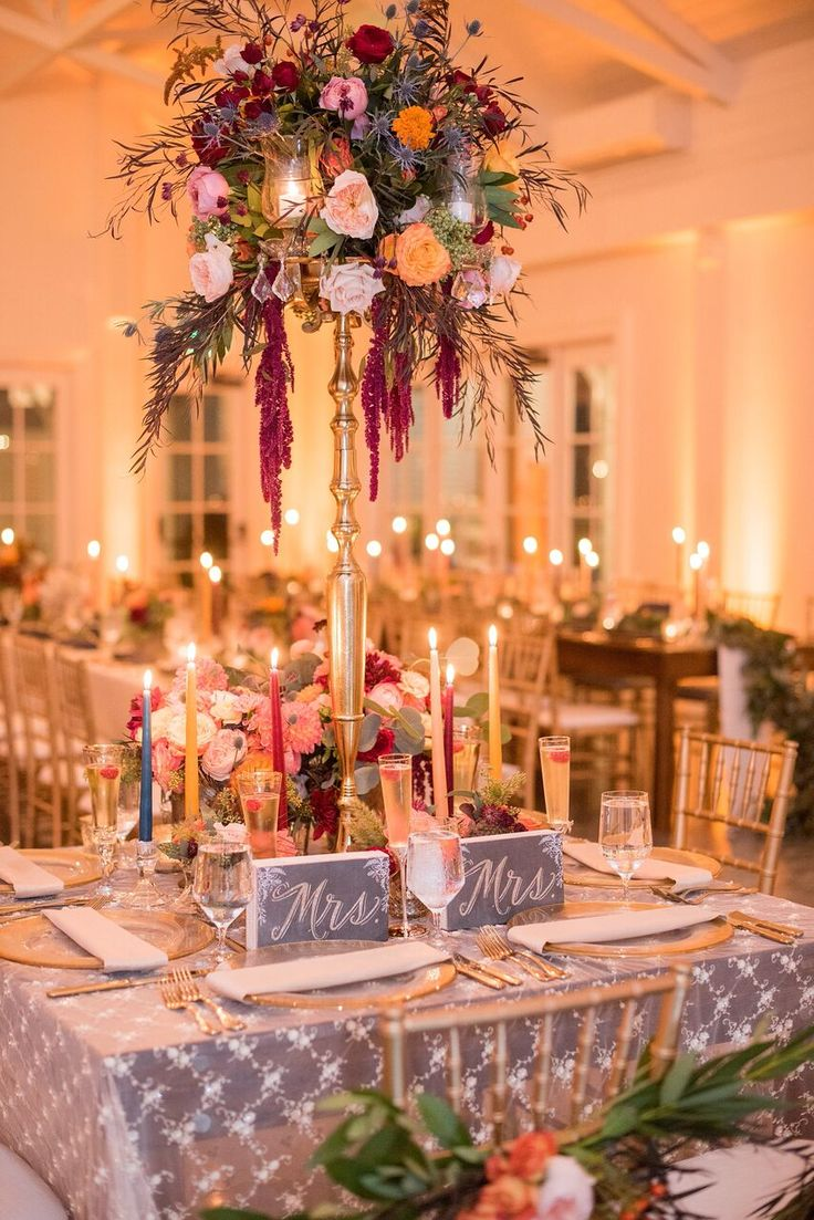 Autumn Colored Wedding in North Carolina- reception style and design- sweetheart table- floral decor
