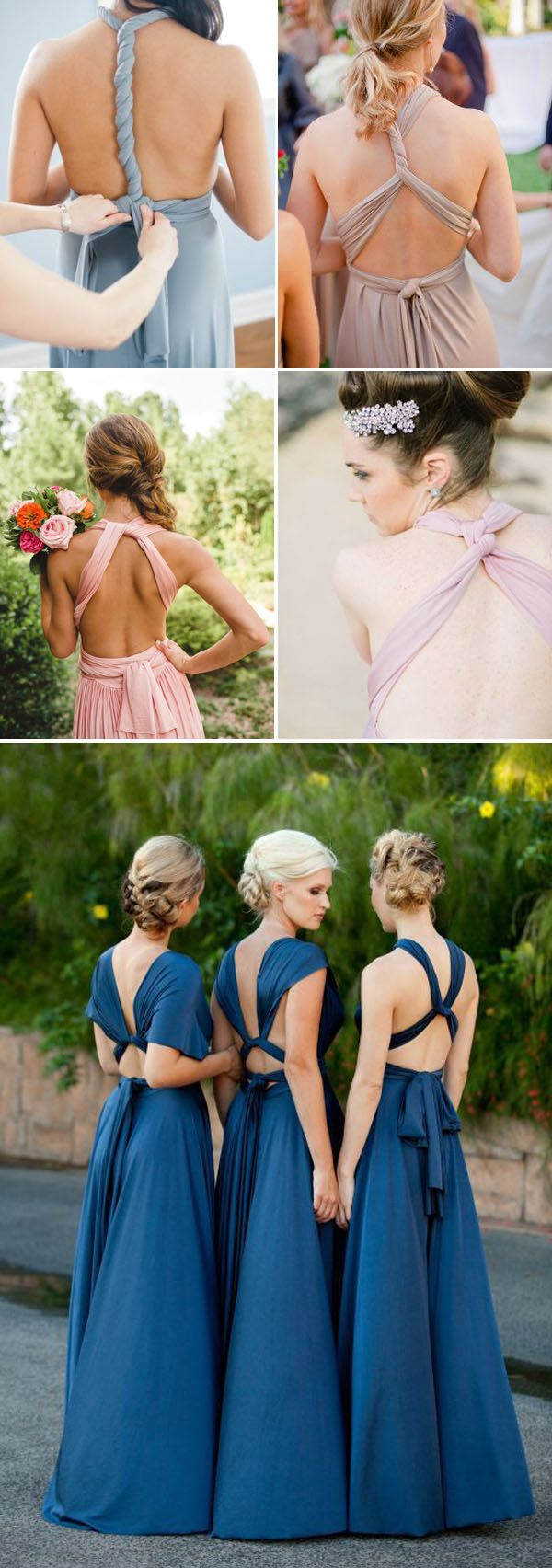 Twist Wrap Bridesmaid Dresses like this idea then each dress can be unique and the girls can wear them again.