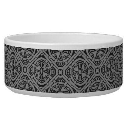 Art Deco Black Grey Dog Bowl - black gifts unique cool diy customize personalize