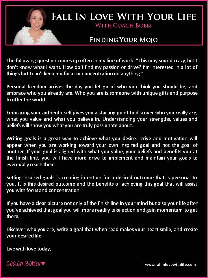 Finding Your Mojo  © Ask Coach Bobbi