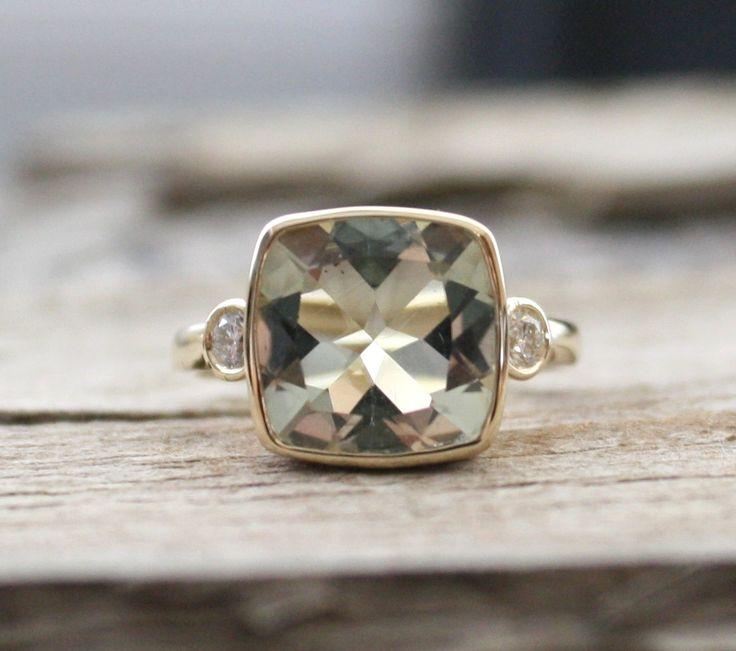 3 Stone Green Amethyst Bezel and Diamond Ring in 14K by Studio1040, $1,200.00