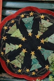 small christmas tree skirt patterns wool applique - Google Search