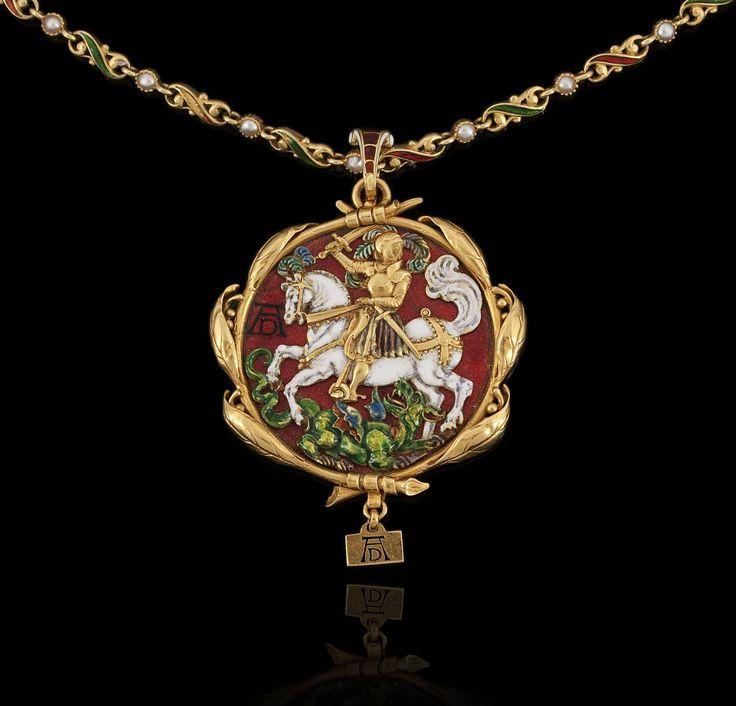 Bapst & Falize Antique jewelry London ,gold pendant 1864