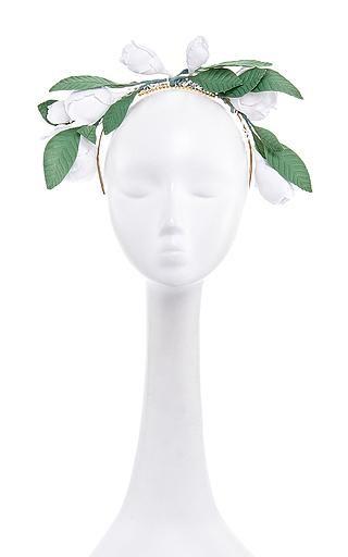 Francesco ballestrazzi white cotton magnolia crown by FRANCESCO BALLESTRAZZI Preorder Now on Moda Operandi