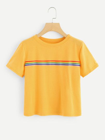 da186f546e Shop Contrast Striped Tape Tee online. SheIn offers Contrast Striped Tape  Tee & more to fit your fashionable needs.