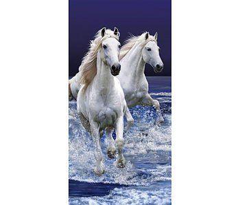 Animal Pictures Strandlaken witte paarden 70x140cm