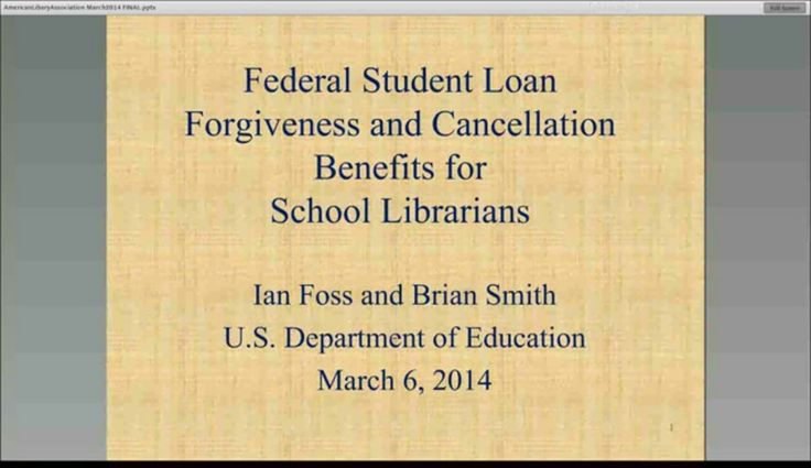 Federal Student Loan Forgiveness and Cancellation Benefits for School Librarians