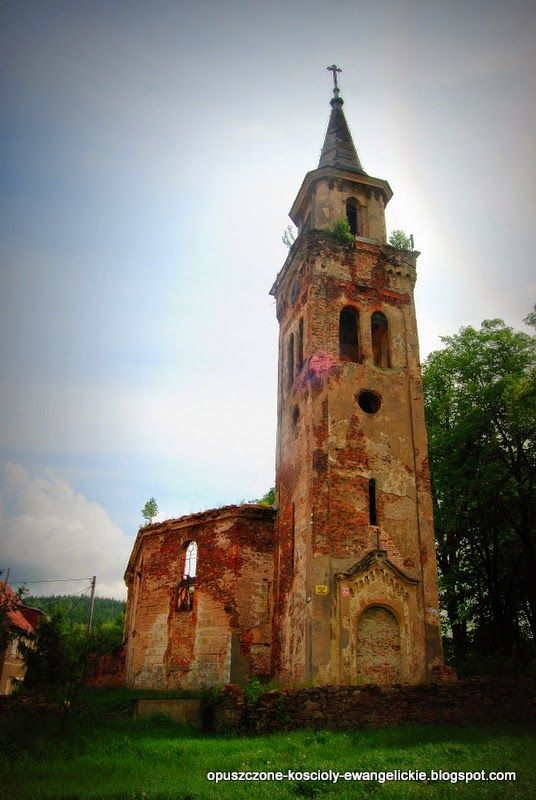 The ruins of the Evangelical Church, Unislaw Silesia, Lower Silesia, Poland.