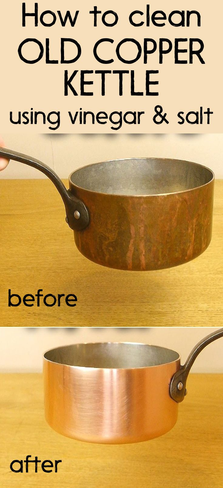How to clean an old copper kettle using vinegar and salt