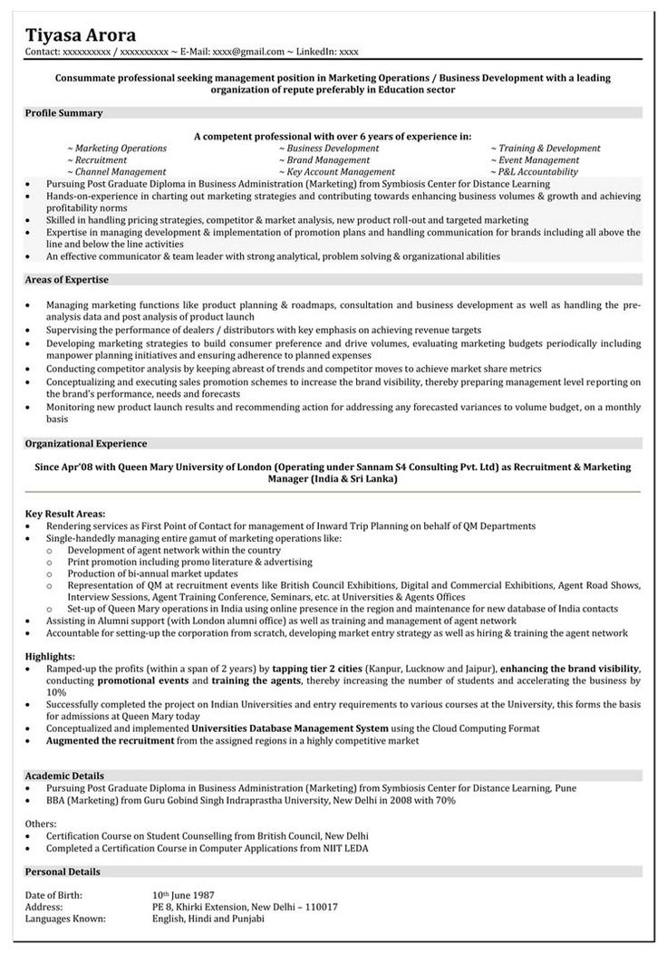 Resume Format For 5 Years Experience In Marketing