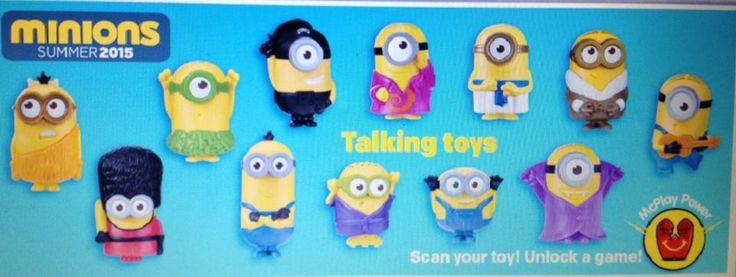 10 SETS -MINIONS- MCDONALDS HAPPY MEAL TOYS (SET OF 12)- IN HAND!!!!!!