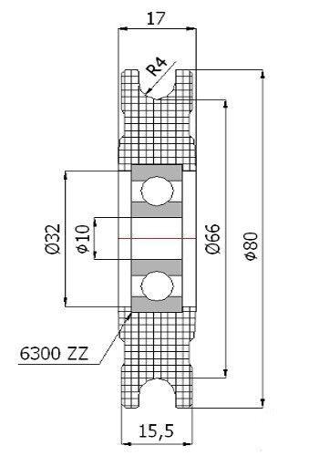 Details zu Seilrolle Kunststoff Polyamid Kugellager Ø80mm für Seil ...