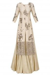 Off White and Gold Sequins Work Jacket Kurta with Flared Skirt