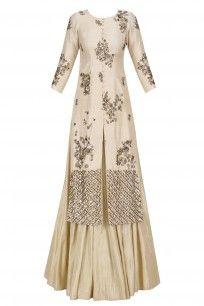 Off White and Gold Sequins Work Jacket Kurta with Flared Skirt #asthanarang #shopnow #ppus #happyshopping