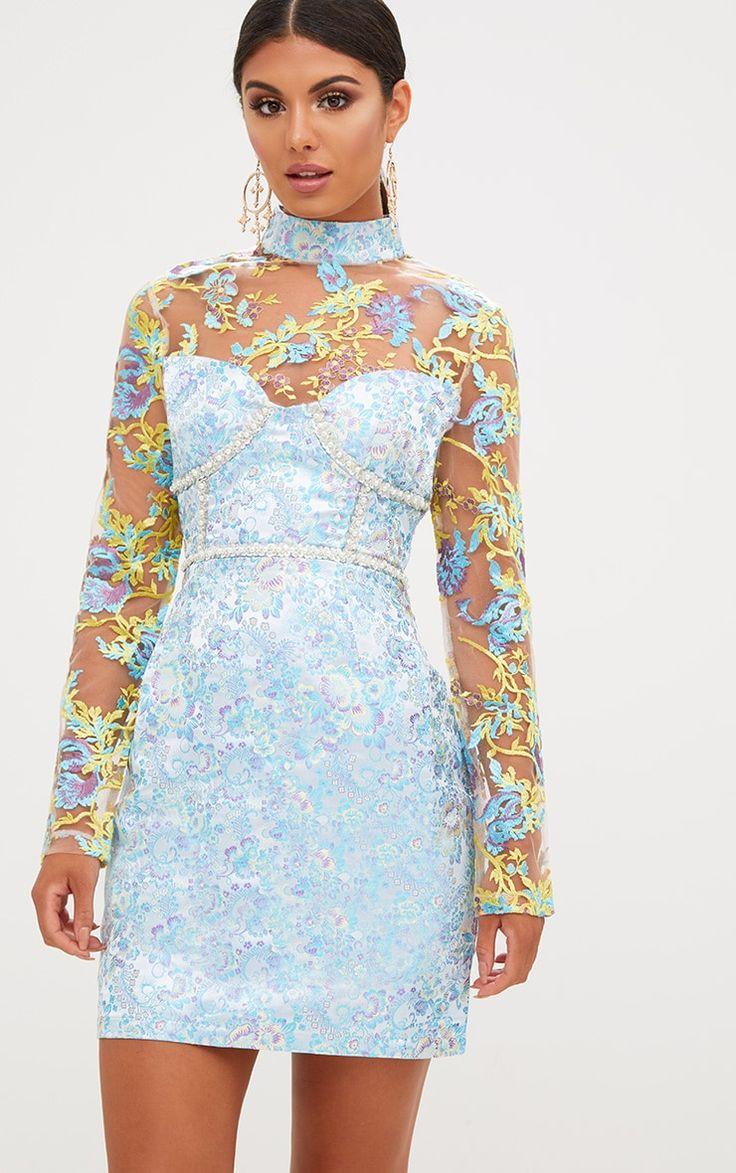 Premium Blue Lace Detail Jacquard Bodycon Dress