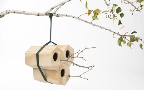 Hexagon-shaped birdhouses that join together with other units to create a bird community so mama birds don't have to suffer from empty nest syndrome. NeighBirds by Andreu Carulla Studio for Utoopic Photo