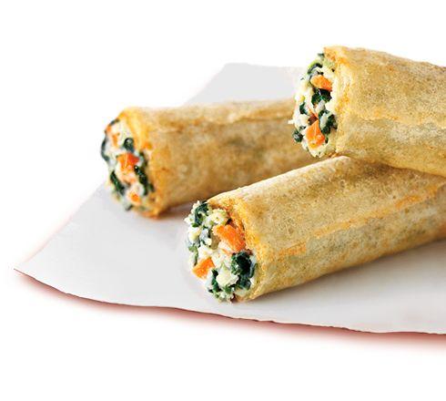 ... Garlic Chicken Spring Rolls: White meat chicken,garlic,spinach