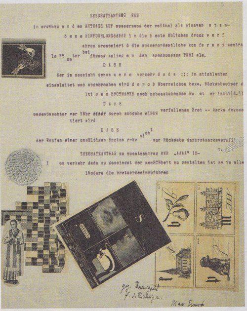Johannes Baargeld, Max Ernst, Manifeste tapuscrit We 5 (Weststupidien 5), page 3,  1920, collage, frottage au crayon, texte dactylographié, 28, 4 x  22,1cm, collection particulière, courtesy galerie Natalie Seroussi,  Paris.