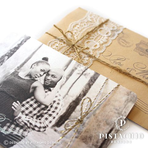 Rustic postcard wedding invitation design made by www.pistachiodesigns.co.za