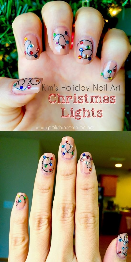 Christmas Lights Nail Art with string and Swarovski crystals