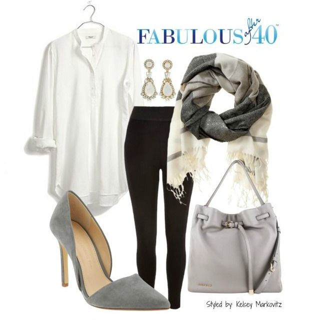 For an elegant look take a long, long shirt/blouse, roll up the sleeves and wear it untucked over leggings. Description from fabulousafter40.com. I searched for this on bing.com/images