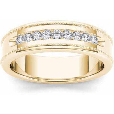 Imperial Diamond 1 3 Carat T W Diamond Men S 14kt Yellow Gold Wedding Band Walmart Com Mens Diamond Wedding Bands Diamond Wedding Bands Milgrain Wedding Bands