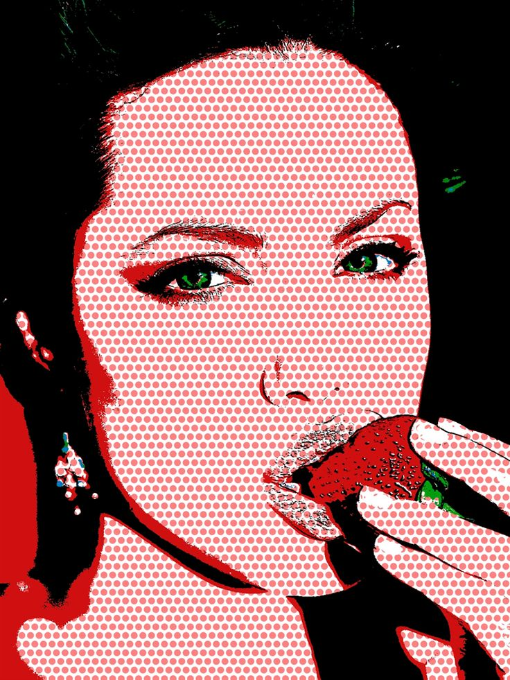 angelina jolie pop art portrait roy lichtenstein style. Black Bedroom Furniture Sets. Home Design Ideas