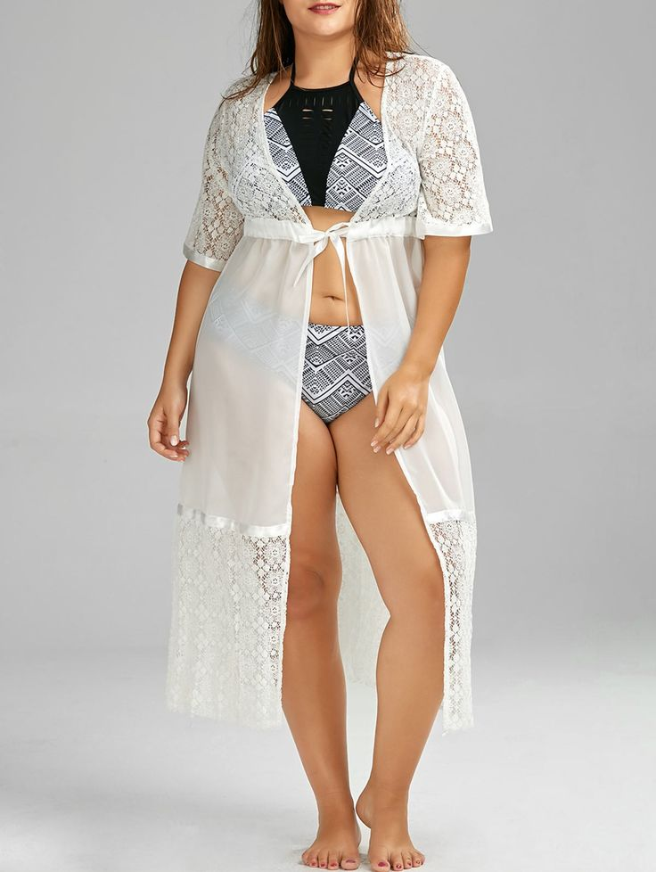 Plus Size Lace Sheer Chiffon Long Kimono Beach Cover Up #shoes, #jewelry, #women, #men, #hats, #watches, #belts