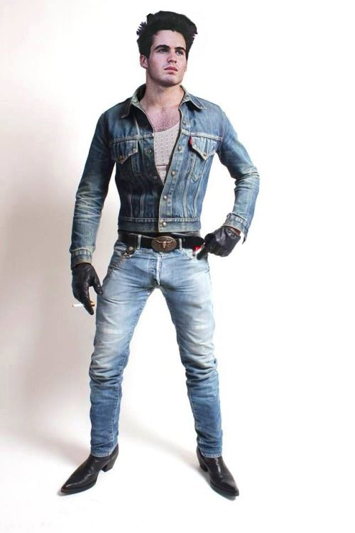 Guy porn boots jeans leather jacket