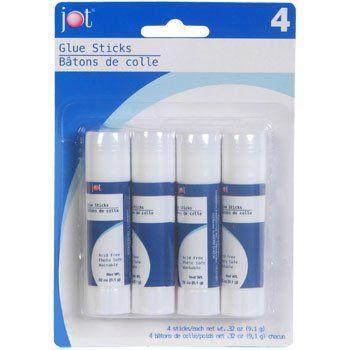 Jot Glue Sticks, .32 oz Stick, 4 ct. Pack JOT http://www.amazon.com/dp/B00N2ZFJBK/ref=cm_sw_r_pi_dp_-Yf1wb0MK34E6