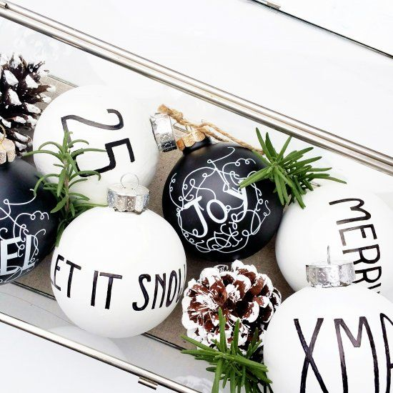 Simple steps to create your own modern black and white Christmas Ornaments