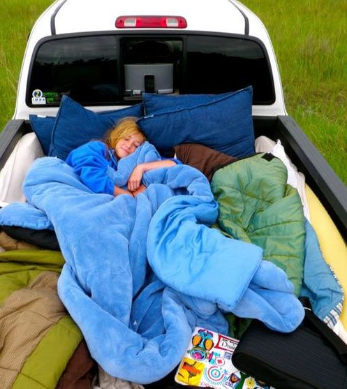 Truck Bed Full Of Pillows And Blankets
