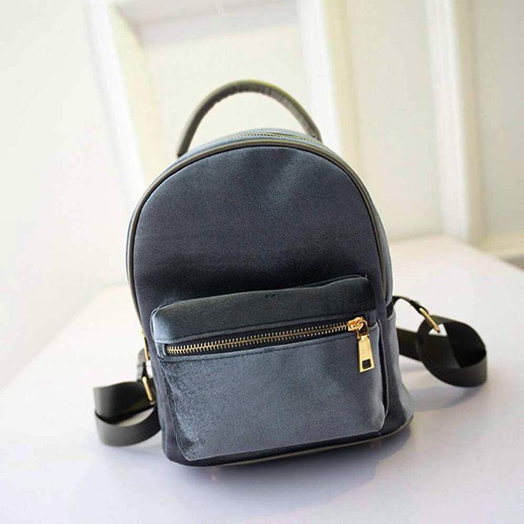 Feitong Women Bag 2017 New Gold Velvet Backpack Schoolbag Shoulder College Wind Retro British Fashion Travel Bag bolsa feminina aliexpress.com