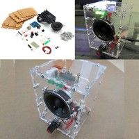 New Transparent Speaker Box LM386 Amplifier Kit With Case PC Speaker DIY KIT