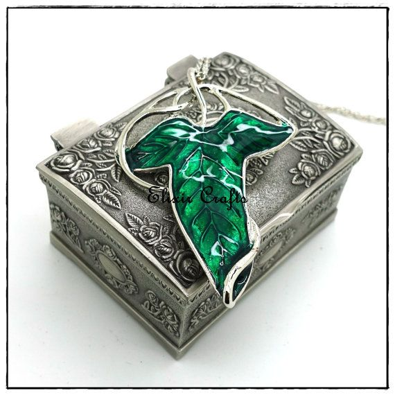 Lord of The Rings Green Leaf Elven Pin Brooch by ElixirCrafts