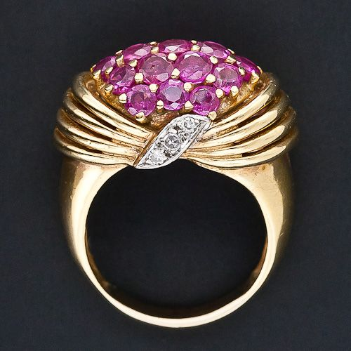 Retro Ruby and Diamond Ring in Yellow Gold
