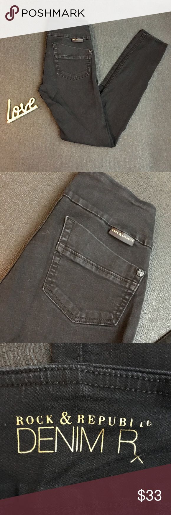 Rock & Republic Denim RX Fever Midrise Leggings Black Rock & Republic Denim RX Fever Midrise Leggings/ pull on jeans   Skinny cut Wide elastic waistband slims your midsection   Worn maybe 6 times. Rock & Republic Jeans Skinny