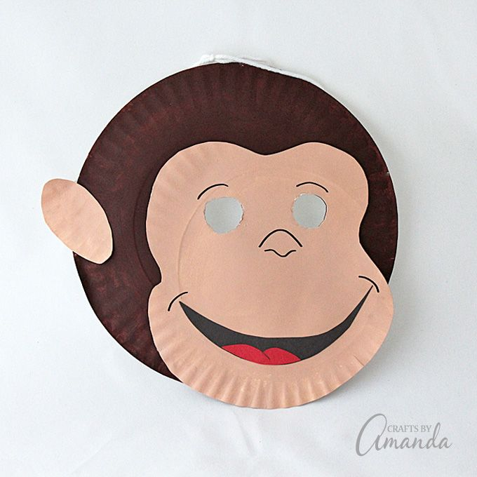 Make a fun Curious George mask out of paper plates! Curious George is now streaming only on Hulu! #CuriousGeorgeonHulu
