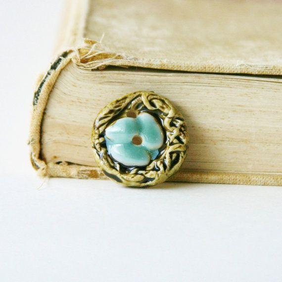 Tiny Bird Nest Ceramic Button  Robins Egg Blue