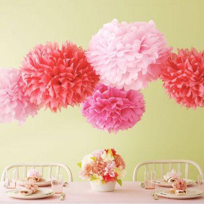pom poms: Pom Poms, Craft, Pompoms, Marthastewart, Paper Pom, Pink, Martha Stewart, Party Ideas, Baby Shower