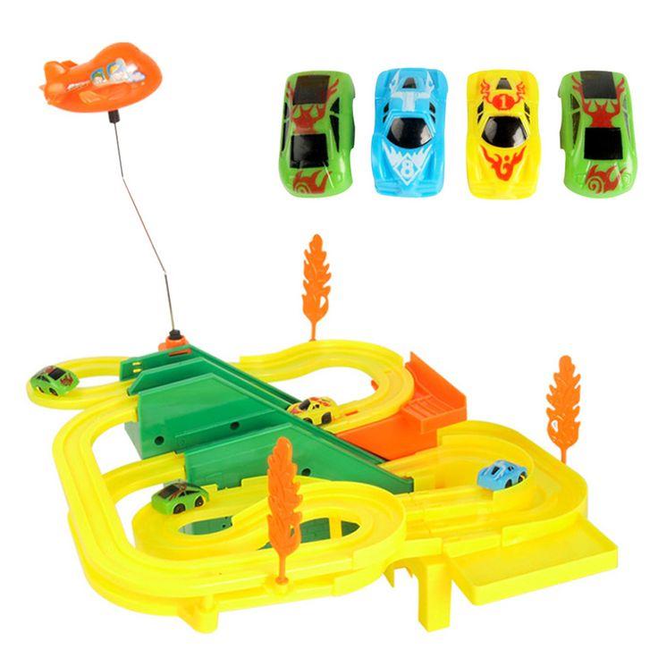 1セットミニdiy組み立てるレーストラック車のおもちゃ音楽ライト子供手仕事レーシングカーゲーム電車カーレーストラック子供のおもちゃ