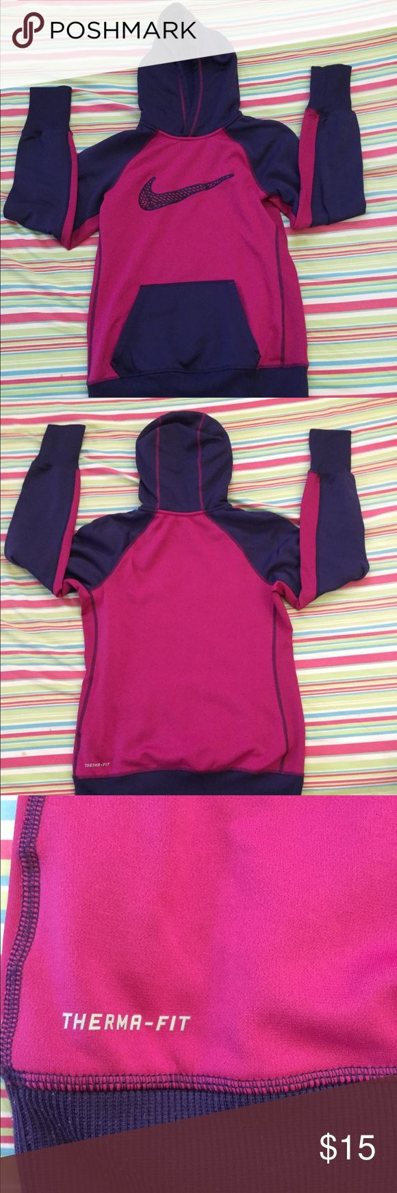 Nike pullover hoodie/sweatshirt Thermal fit and is really soft and good quality material. Never worn. Great for exercise outside like running or just running errands. Nike Tops Sweatshirts & Hoodies