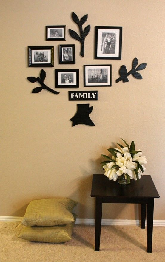 wall decor living room love this want to do something like this with family tree
